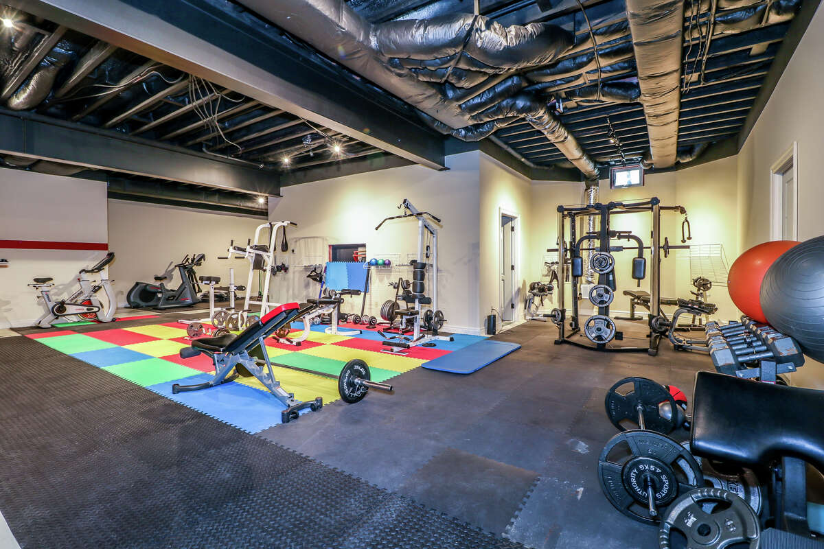 The Bridgewater homealso has a full gym in its lower level. View listing
