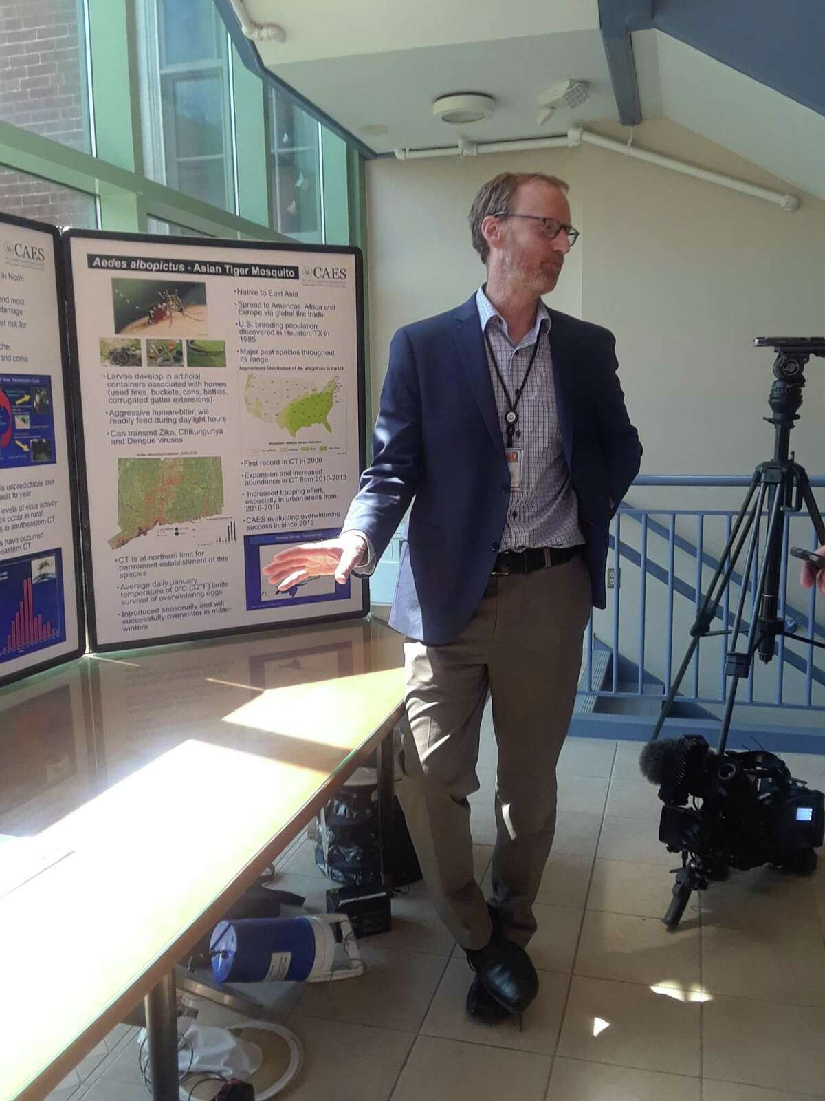 Philip Armstrong, research scientist and director of the mosquito surveillance program at the Connecticut Agricultural Experiment Station, speaks at the station in New Haven on June 3, 2019.