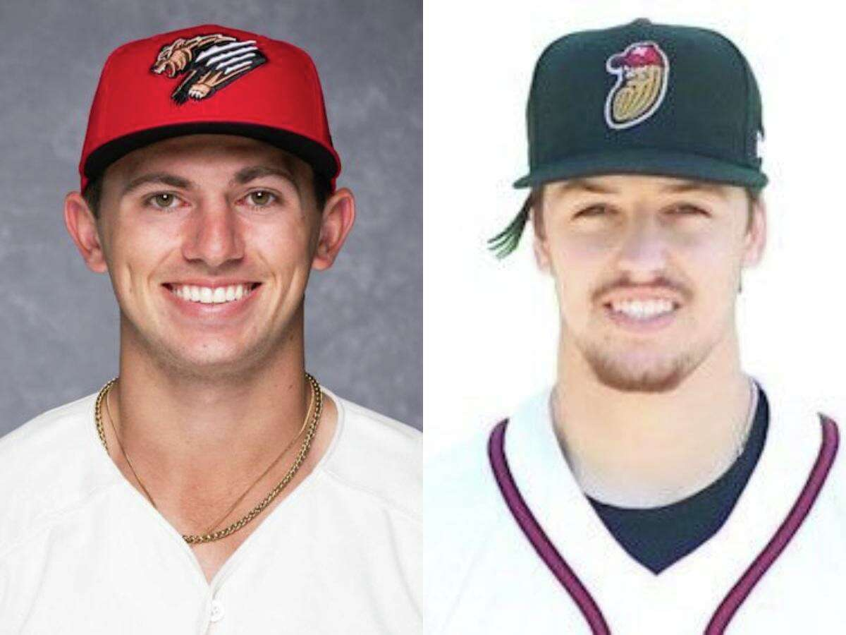 Baseball players Drew Romo (left) and Connor Phillips (right)