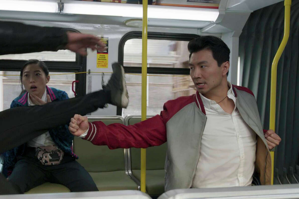 """Katy (Awkwafina) and Shang-Chi (Simu Liu) in Marvel Studios' """"Shang-Chi and the Legend of the Ten Rings."""""""