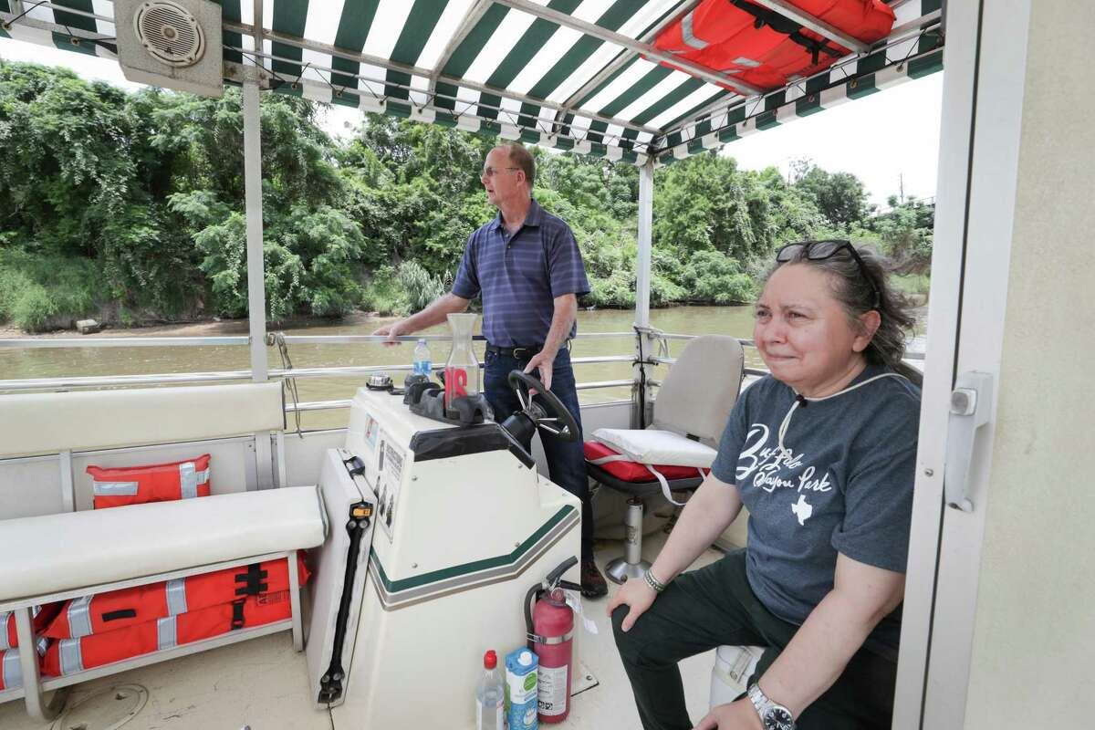 Buffalo Bayou Partnership field operations manager, Robby Robinson and Rosemarie Croll made sure all felt safe and welcome during a boat tour Tuesday, July 20, 2021, in Houston. The Buffalo Bayou Partnership recently reopened boat tours to the public.