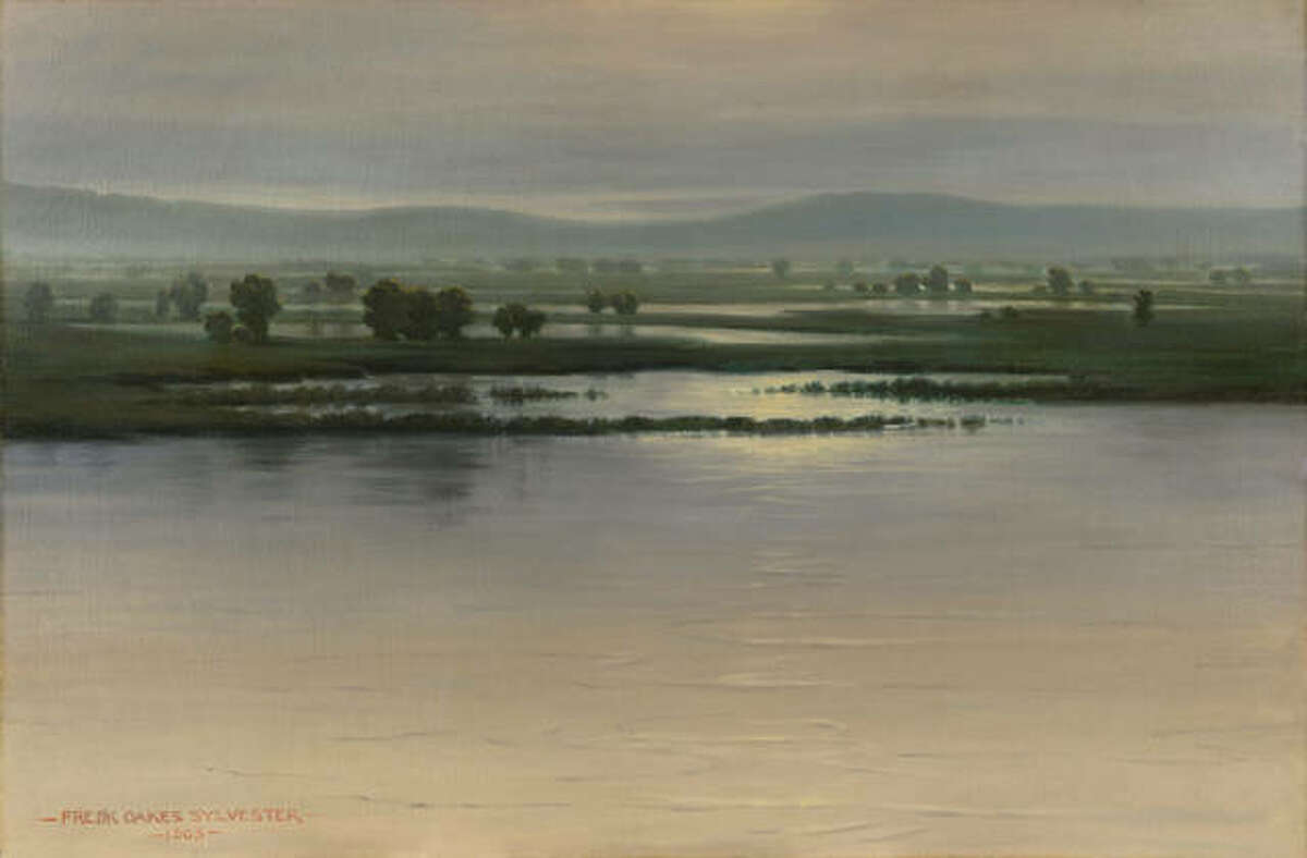"""""""The Mississippi at Elsah, a 1903 oil on canvas by Frederick Oakes Sylvester, is part of the Saint Louis Art Museum's """"Art Along the Rivers: A Bicentennial Celebration"""" exhibition which opens Oct. 3."""