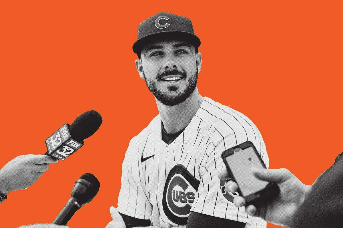 Kris Bryant of the Chicago Cubs talks to reporters during the Gatorade All-Star Workout Day outside of Coors Field on July 12, 2021, in Denver, Colo.