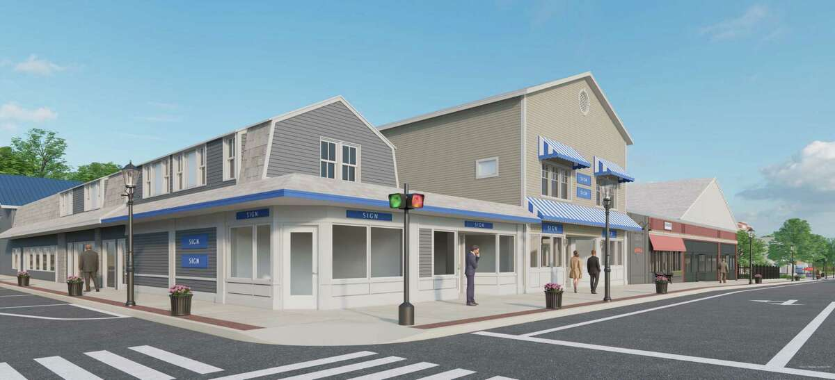 The Clinton Economic Development Commission and town will give up to up to $37,500 to individual businesses for improvements to their tired facades. Shown here is an architect's tendering of an improved Corner of Hull and Main streets.