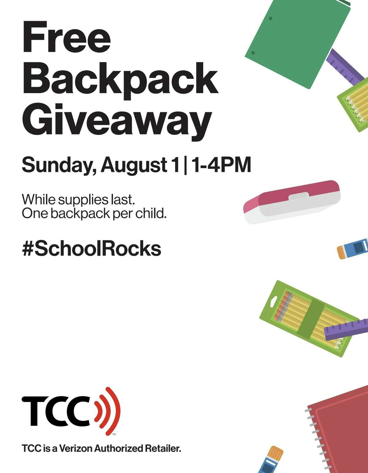 A poster advertises the Aug. 1 backpack giveaway in Old Saybrook in conjunction with TCC / Verizon.