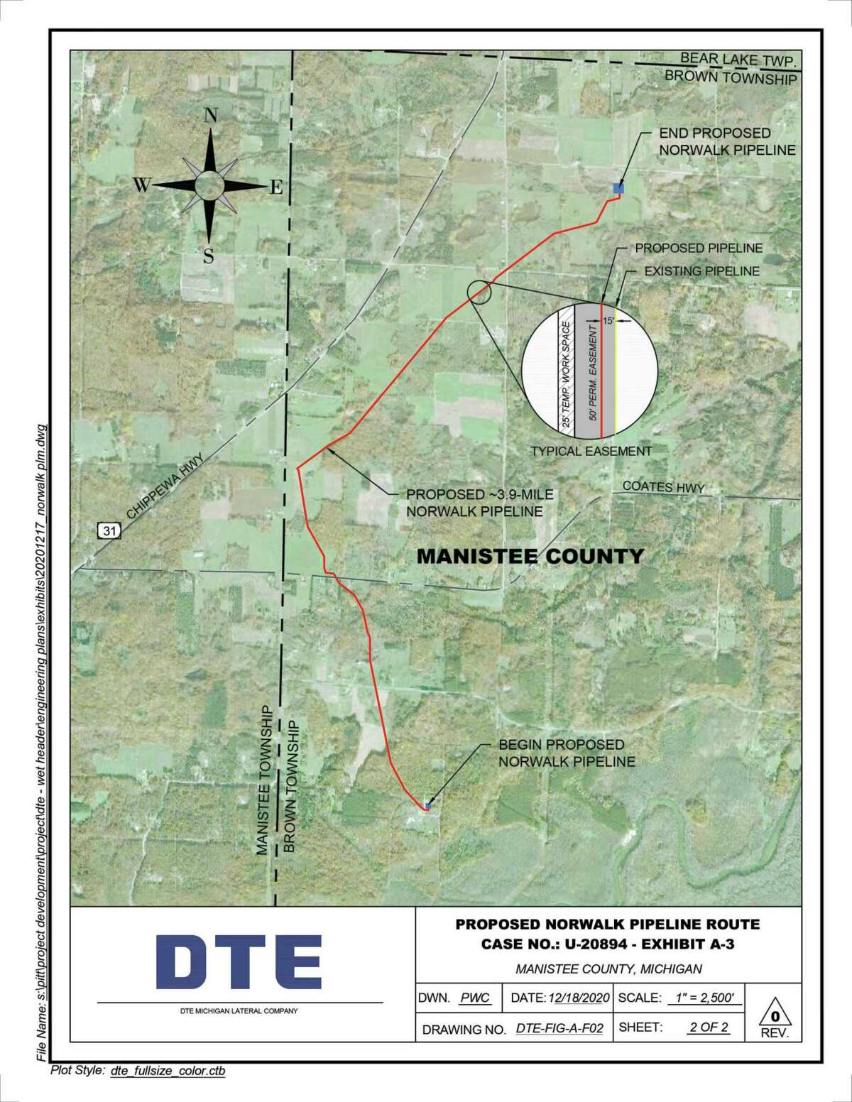 A map of the Manistee County portion of the DTE Pipeline project.(CourtesyMap/DTE Energy)