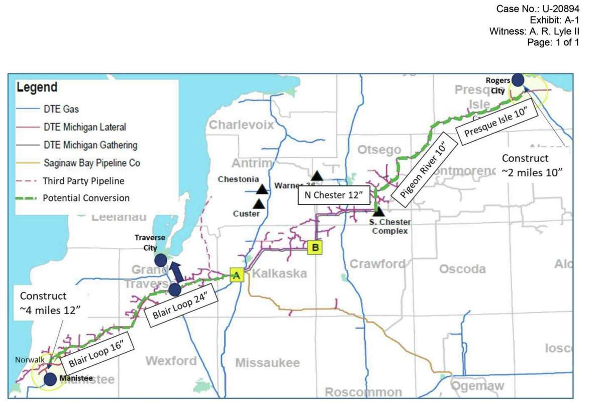 A map of the entire DTE pipeline project from the Norwalk Manistee connector to the Roger City connector.(Courtesy Map/DTE Energy)