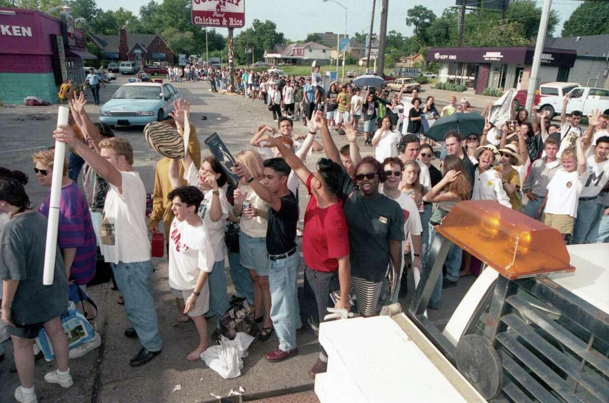 Morrissey fans outside Record Rack, 3109 South Shepherd, July 29 1992.