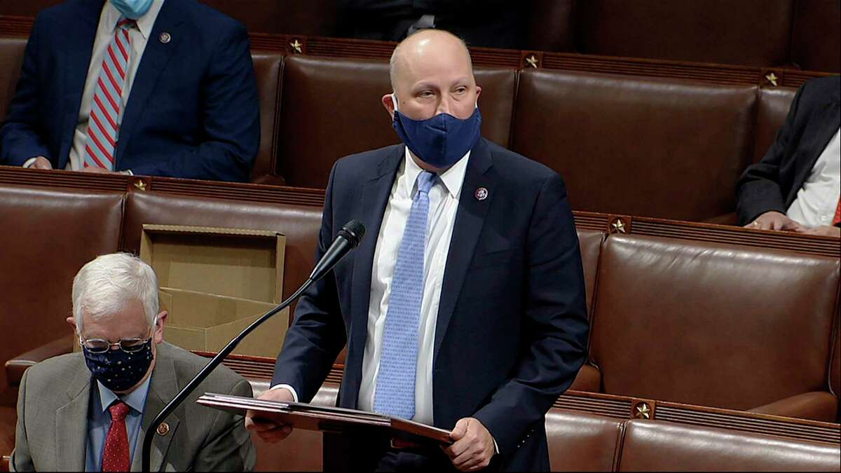 In this image from video, Rep. Chip Roy, R-Texas, speaks as the House reconvenes to debate the objection to confirm the Electoral College vote from Arizona, after protesters stormed into the U.S. Capitol on Wednesday, Jan. 6, 2021.