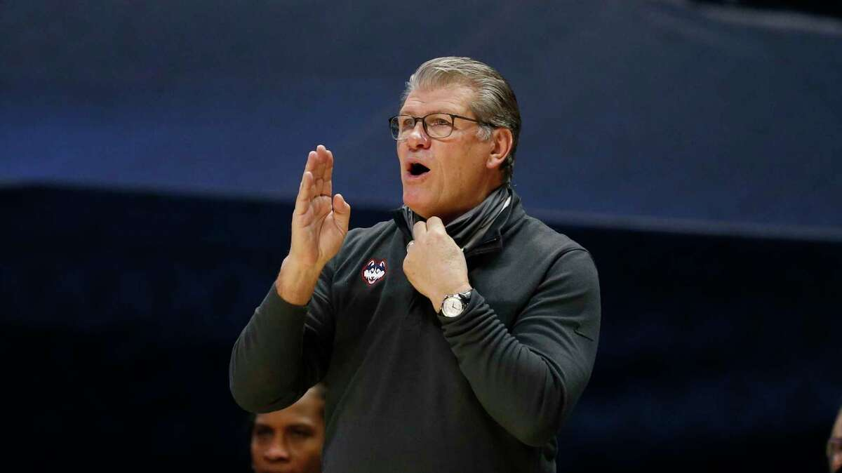 UConn coach Geno Auriemma directs his team against Xavier during the second half of in February.