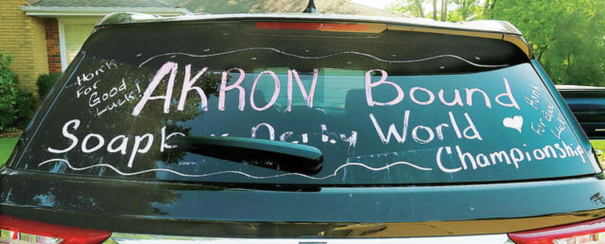 Well wishes are still on the family SUV from the trip to the All-American Soapbox Derby World Championships in Akron, Ohio.