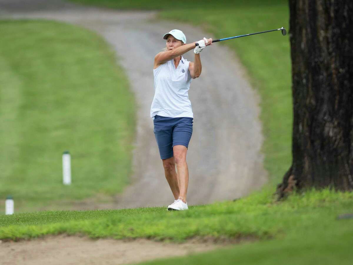 Heidi Harkins hits a fairway shot during the final round of the Northeastern Women's Golf Association championship at the Colonie Golf and Country Club on Wednesday, July 28, 2021 in Voorheesville, N.Y. (Lori Van Buren/Times Union)