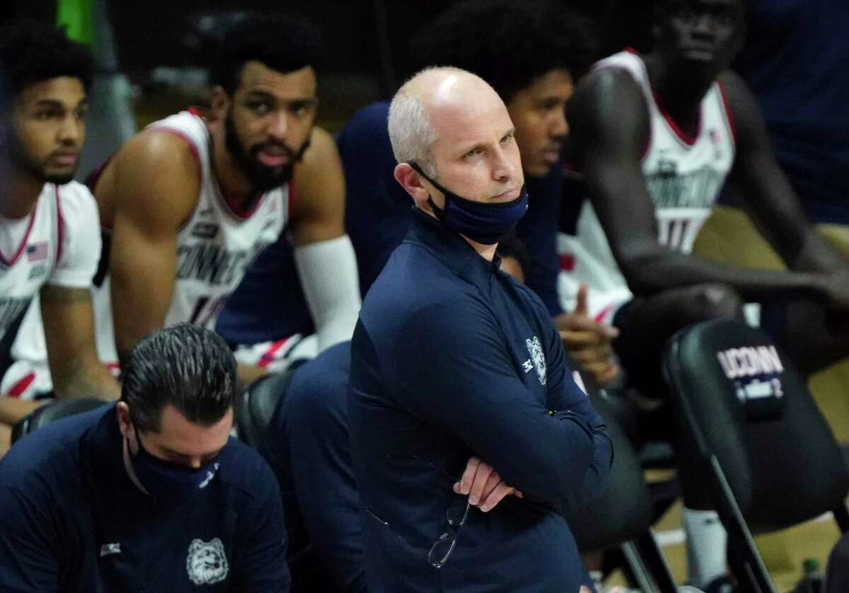UConn coach Dan Hurley watches from the sideline in the second half against St. John's in Storrs in January.
