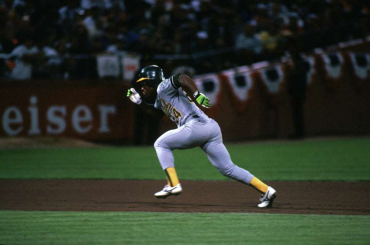 SAN FRANCISCO - OCTOBER: Rickey Henderson #22 of the Oakland Athletics runs during the 1989 World Series against the San Francisco Gaints at Candlestick Park in San Francisco, California, in October. (Photo by Otto Greule Jr/Getty Images)