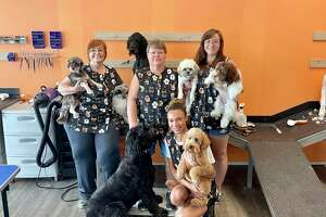 Staff at Deb's Pet Boutique from left to right (Groomer Irene B, Owner Deb Lipnicki, Groomer Briana B. and Groomer Emma B.)(Pioneer photo/Gena Harris)
