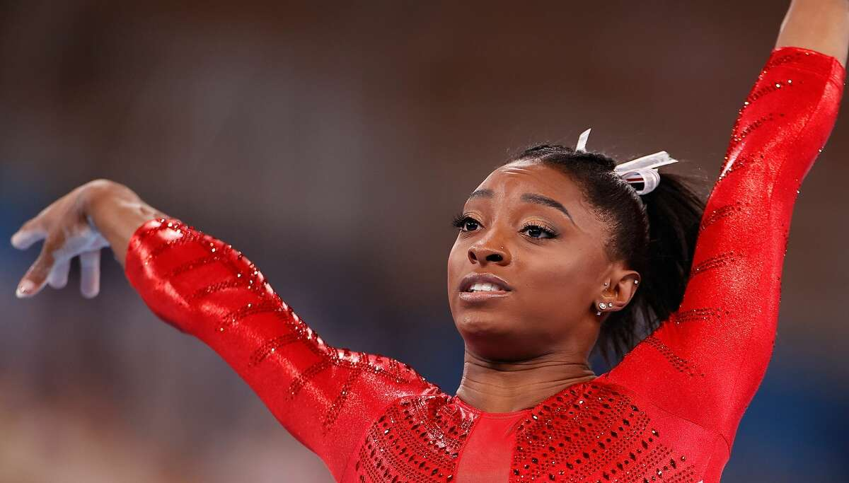 Simone Biles of the United States is seen after the vault of the artistic gymnastics women's team final at the Tokyo 2020 Olympic Games in Tokyo, Japan, July 27, 2021. (Photo by Wang Lili/Xinhua via Getty Images)