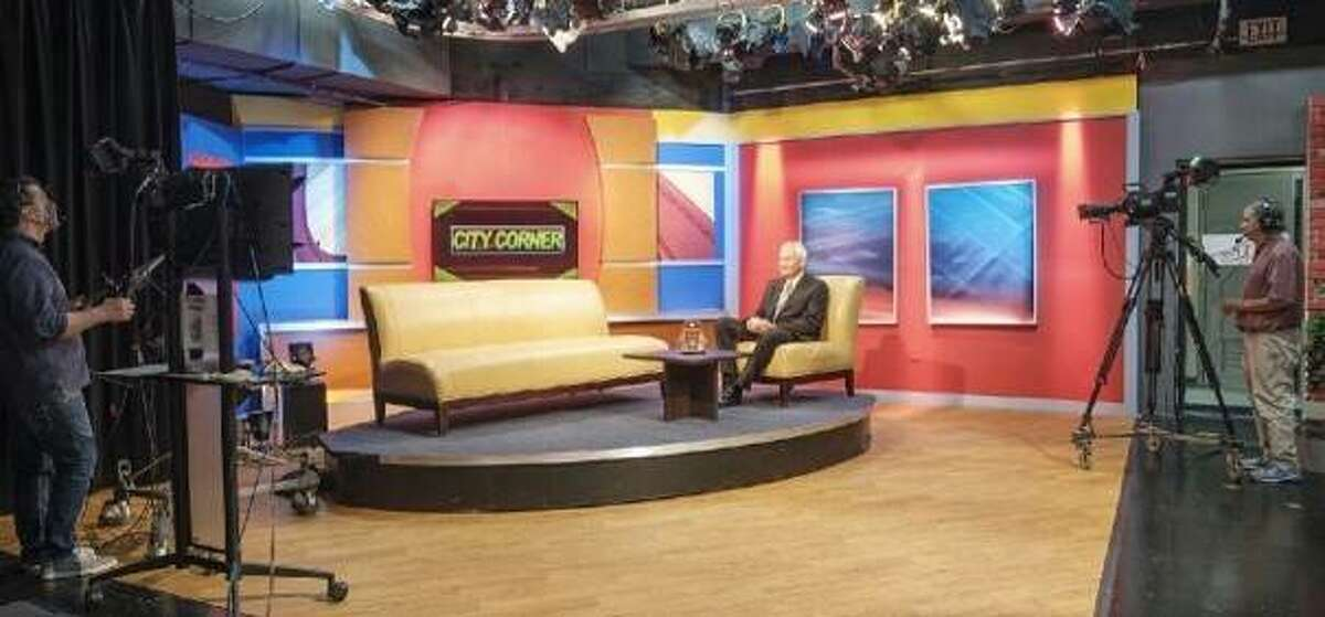 """STL TV's """"City Corner"""" host Steve Potter, of Alton, is shown in the studio. This summer Potter celebrated 20 years as host of the program."""