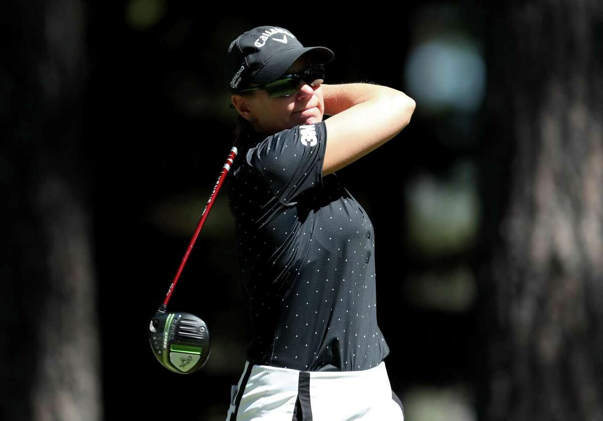 Annika Sorenstam tees off from the fourth hole during the final round of the American Century Championship at Edgewood Tahoe South golf course on July 11 in South Lake Tahoe, Nevada.