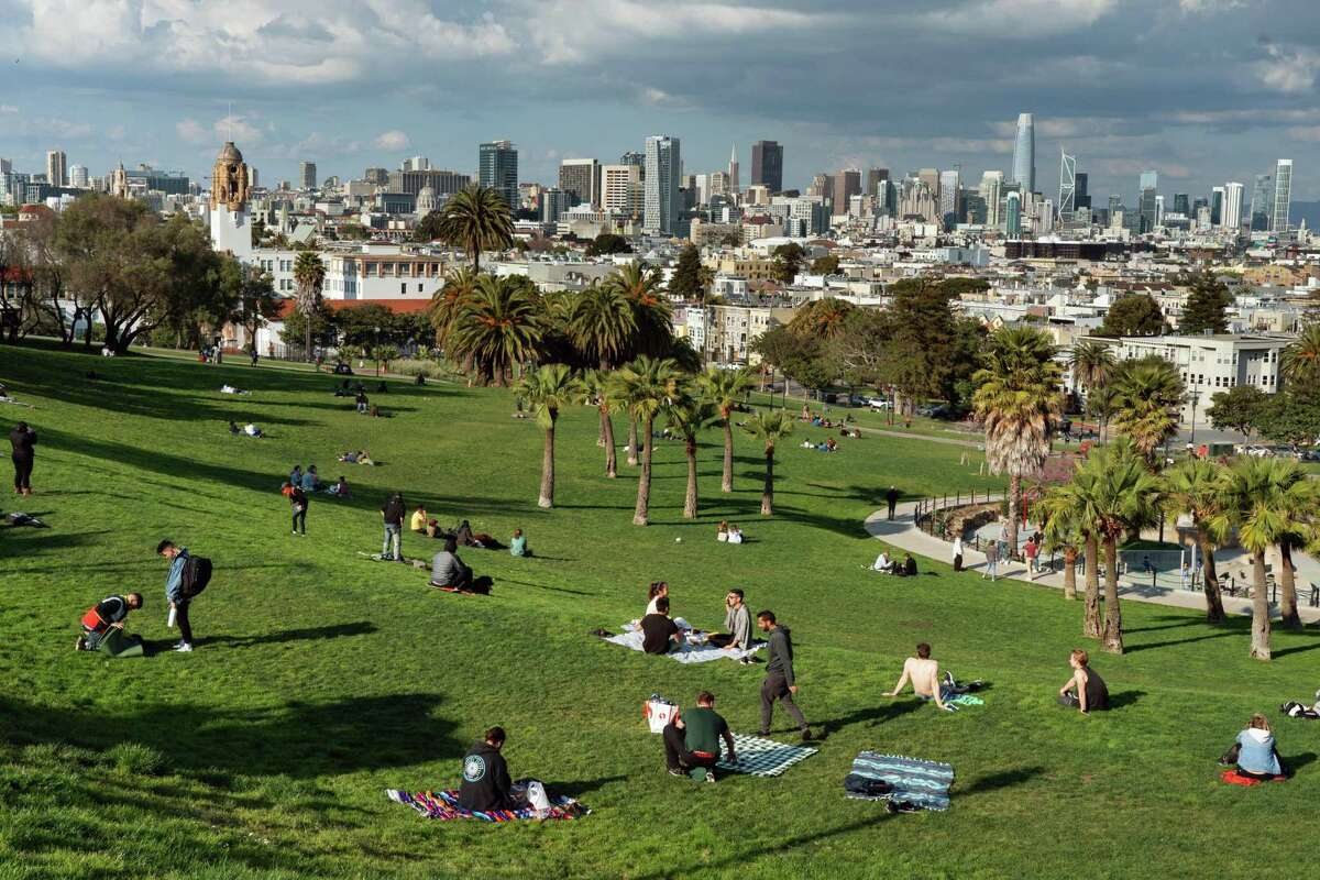 Mission Dolores park in San Francisco, Calif. The National Weather Service said warmer temperatures can be expected beginning Thursday through the weekend before cooling off again next week.