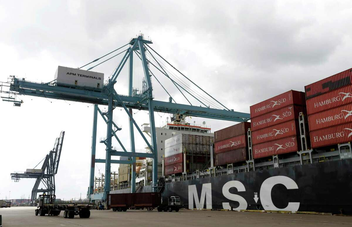 In this file photo, the MSC Oriane container ship is shown at the Port of Houston Authority's Barbours Cut Container Terminal. A computer hardware failure on Wednesday shut operations at Barbours Cut and Bayport Terminals.