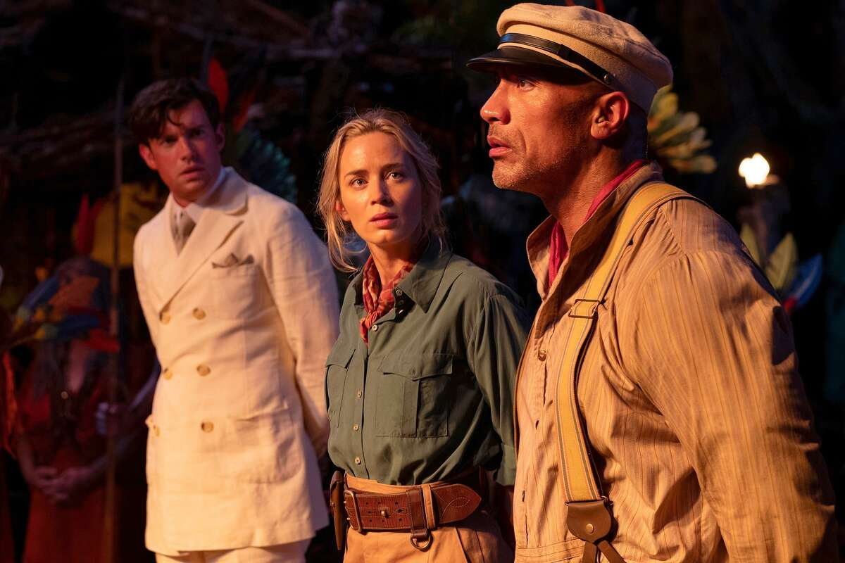 """From left: Jack Whitehall, Emily Blunt and Dwayne Johnson in """"Jungle Cruise."""" MUST CREDIT: Frank Masi/Disney"""