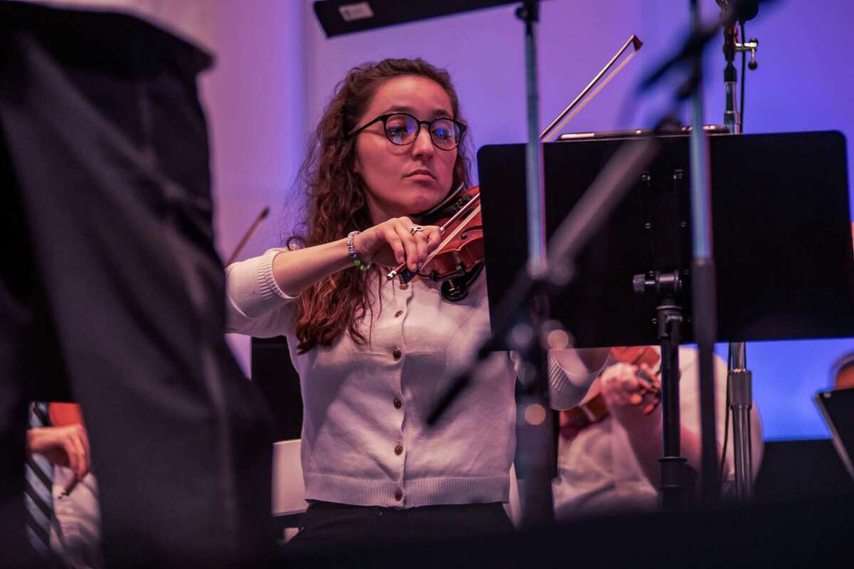 Pictured is Katie Osani, an alumnus of WAYS, now performing as a full member of The Woodlands Symphony at their recent Patriotic Concert at The Cynthia Woods Mitchell Pavilion. WAYS is currently seeking new members for the 2021-22 season.