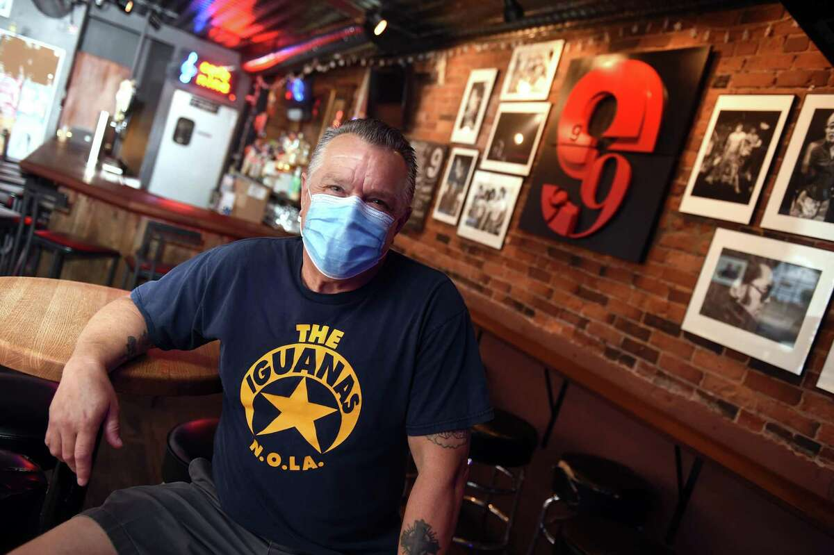 Cafe Nine owner Paul Mayer inside the closed restaurant on State Street in New Haven on July 17, 2020.