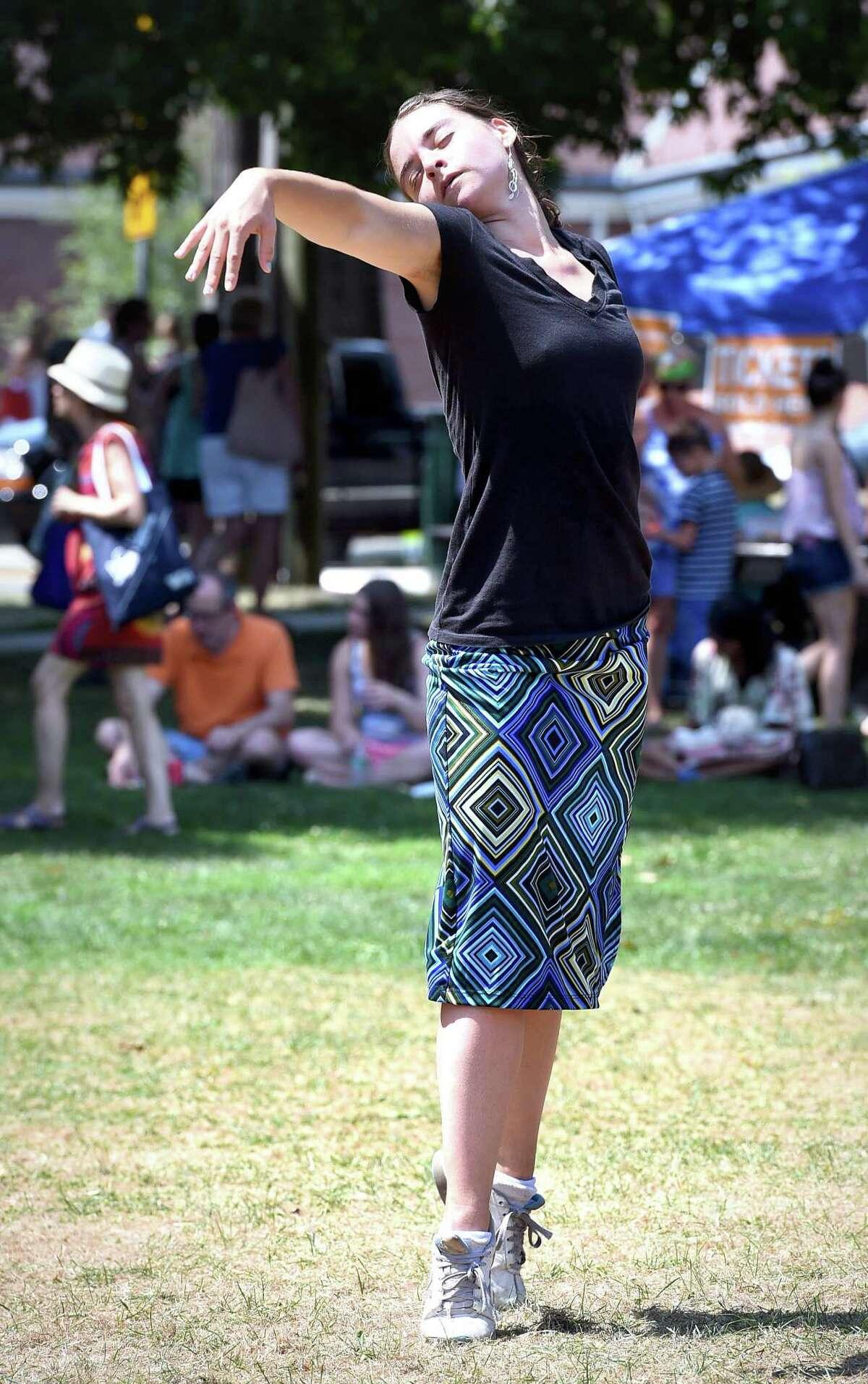 Lauren Rechel of Niantic dances at a previous Shoreline Jewish Festival on the Guilford Green.