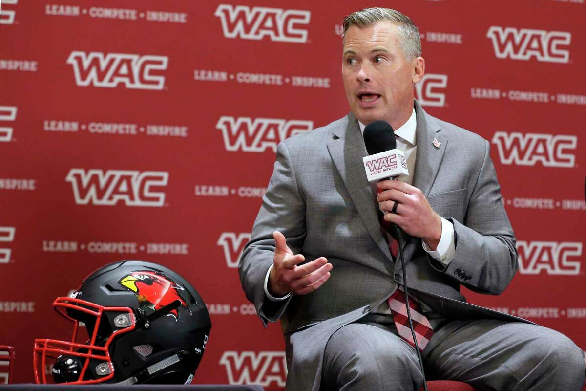 Lamar University head football coach Blane Morgan answers questions during a press conference at the WAC football media day Wednesday, Jul. 28, 2021, held at the Marriott Hotel in The Woodlands, TX.