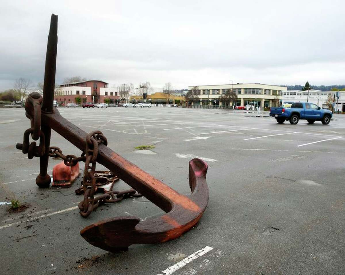 A rusty anchor lies in the back of a parking lot slated for development in Berkeley. The California Supreme Court declined to review a ruling allowing the project to proceed. It was opposed by the city of Berkeley and the Ohlone tribe because it is near the site of an ancient shellmound.