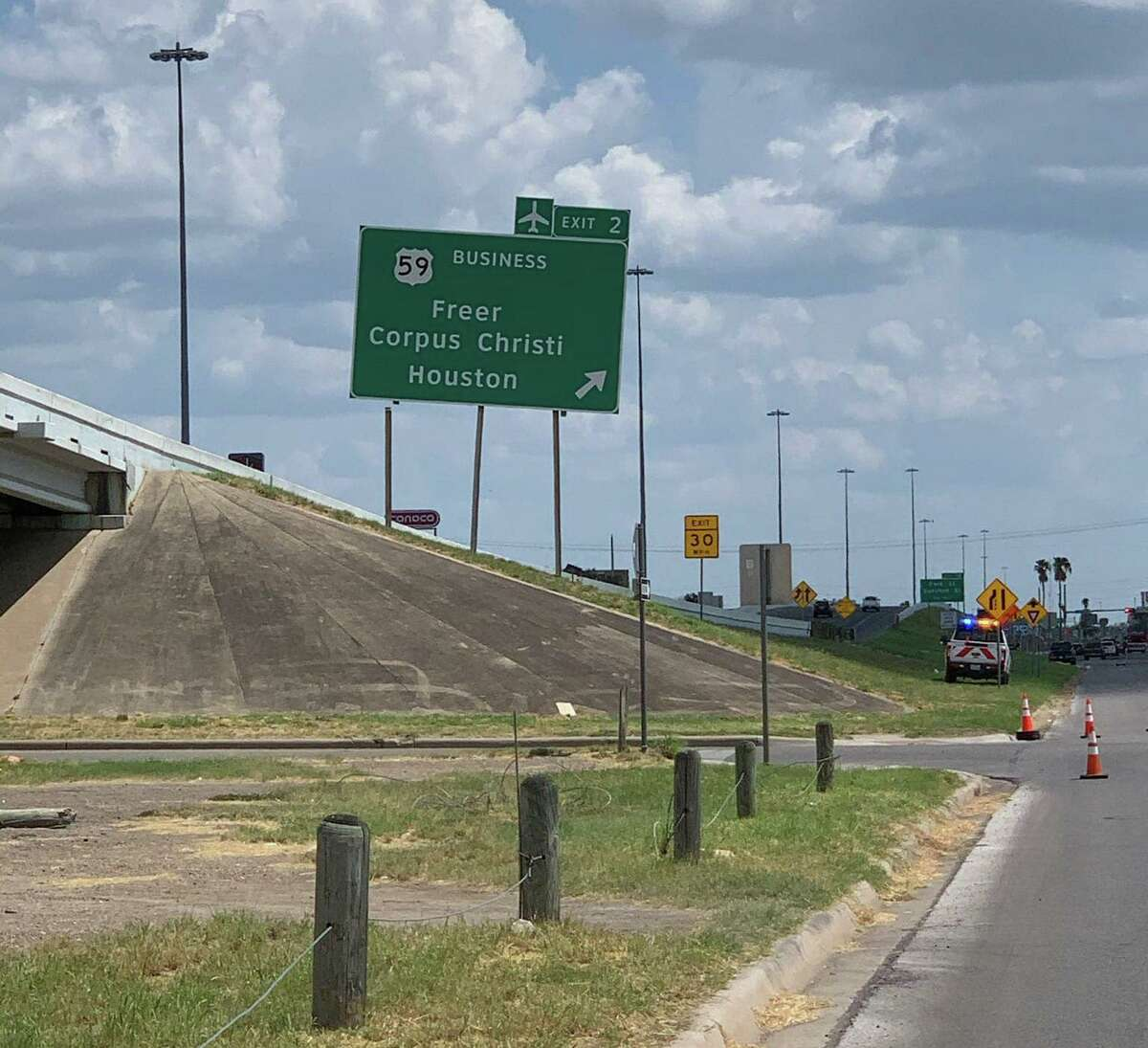 A sign is pictured by the 4000 block of IH-35 as the road was partially closed off due to it starting to fall.