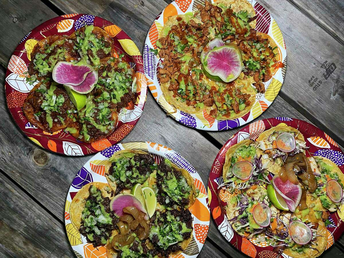 Taco styles include, clockwise from top left, birria, al pastor, fish and barbacoa at La Fonda de Jaime 2.0.