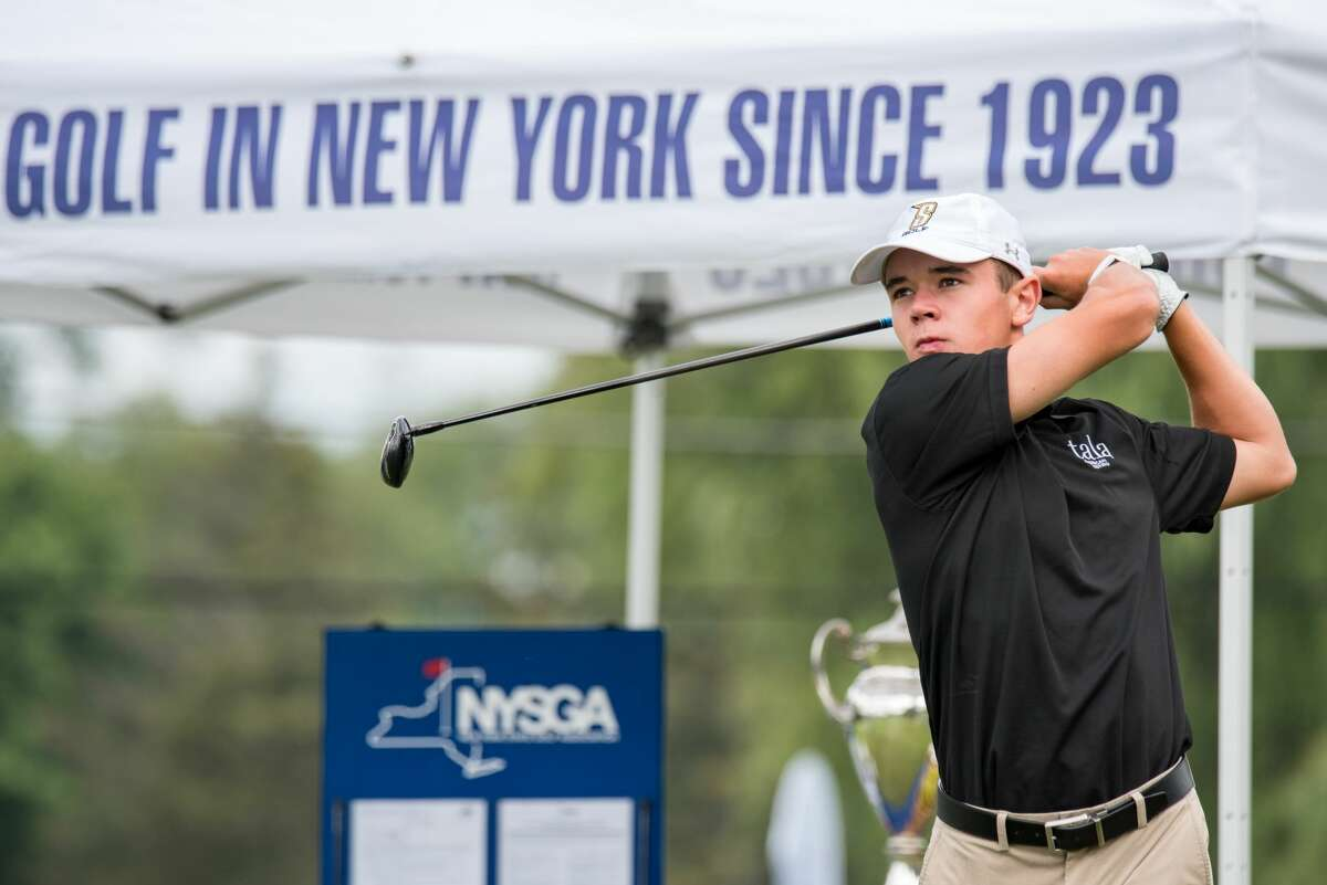 Nick Lyons of Albany Academy watches a drive Wednesday, July 28, 2021, in the final round of the New York State Junior Golf Championship at Seven Oaks Golf Club in Hamilton. (Dan Thompson/NYSGA)
