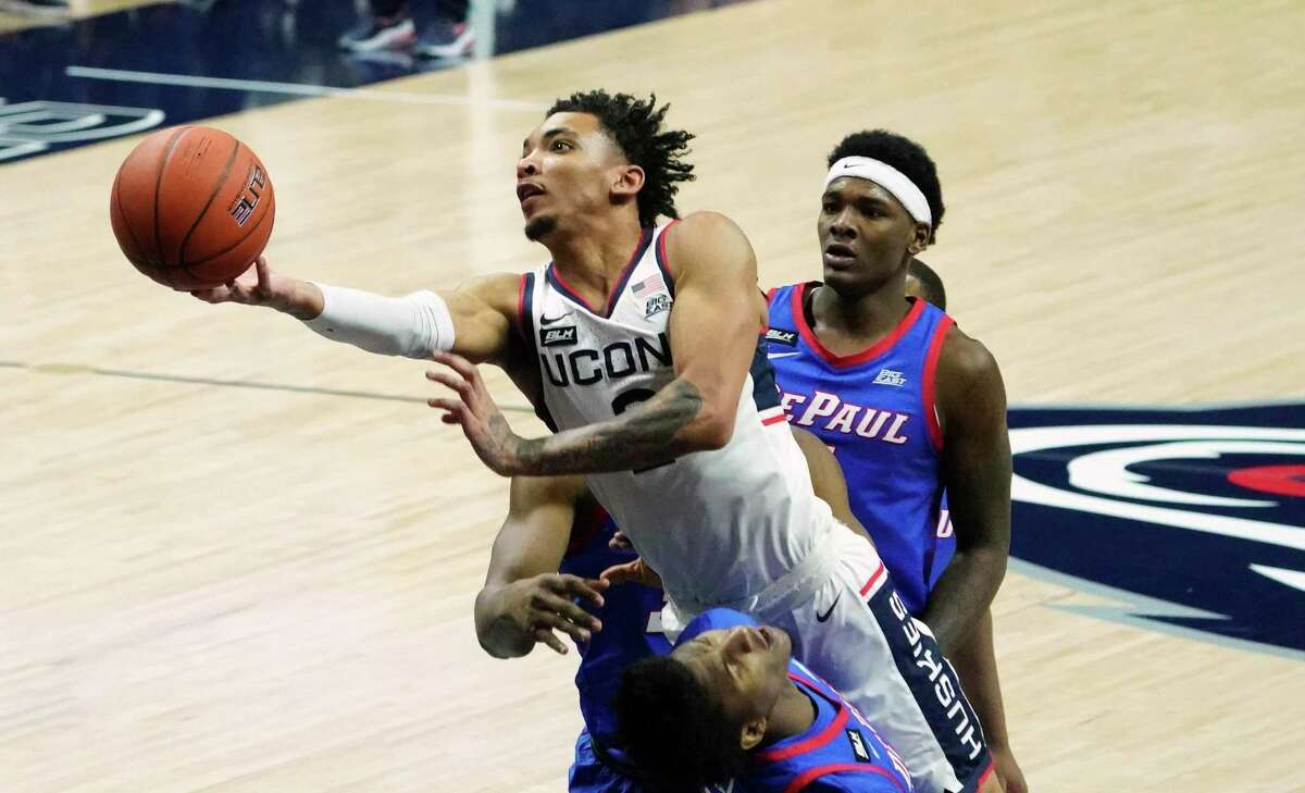 UConn guard James Bouknight shoots against DePaul during the first half in December.