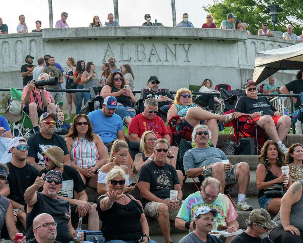 Fans at the last Alive at 5 concert of the season featuring Warrant and the Joe Mansman and the Midnight Revival Band at Jennings Landing on the Corning Preserve in Albany, NY, on Wednesday, July 28, 2021.