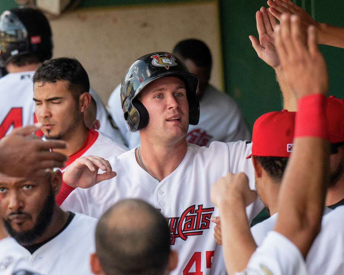 Tri-City ValleyCats first baseman Zach Biermann is congratulated after hitting a triple against the New York Boulders at the Joseph L. Bruno Stadium on the Hudson Valley Community College campus in Troy, NY, on Wednesday, July 28, 2021. (Jim Franco/Special to the Times Union)