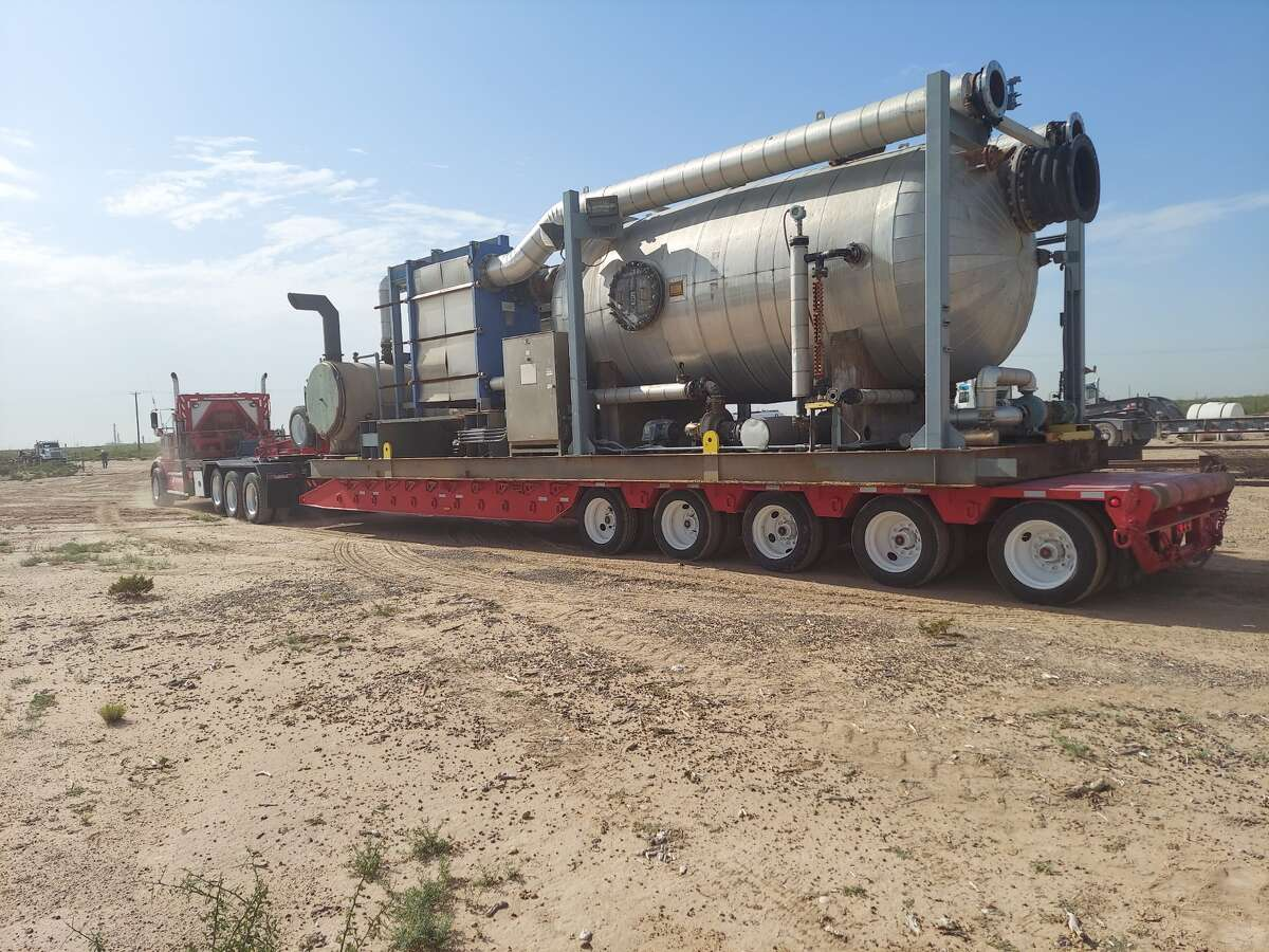 The NOMAD desalination unit recently acquired by Encore Green Environmental is on its way to be refurbished and then put to work on a farm at Midkiff.