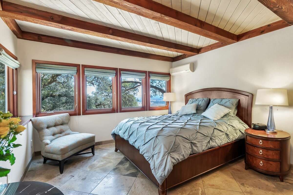 This bedroom is on the home's main level.