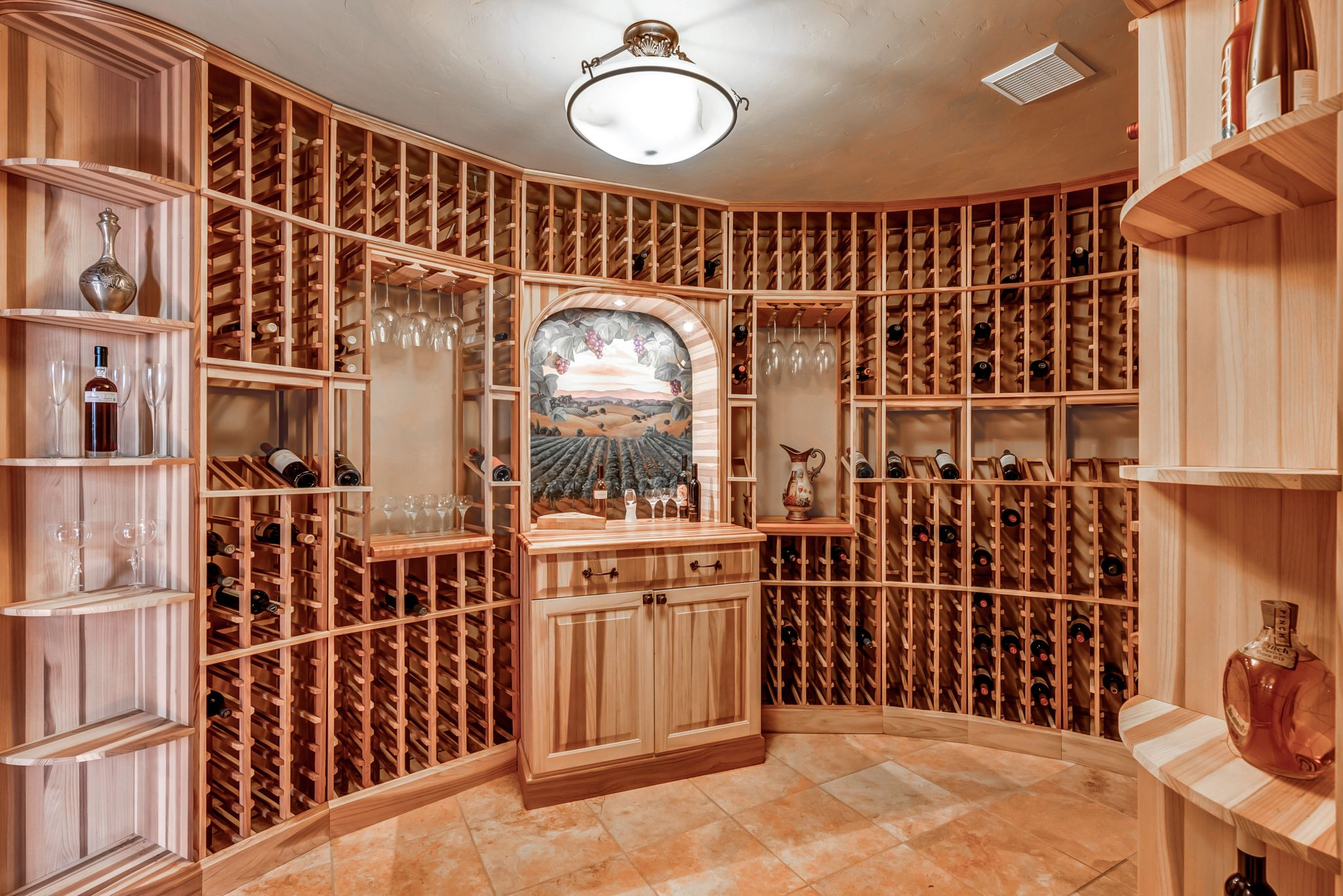 No wine country estate is complete without a wine cellar.