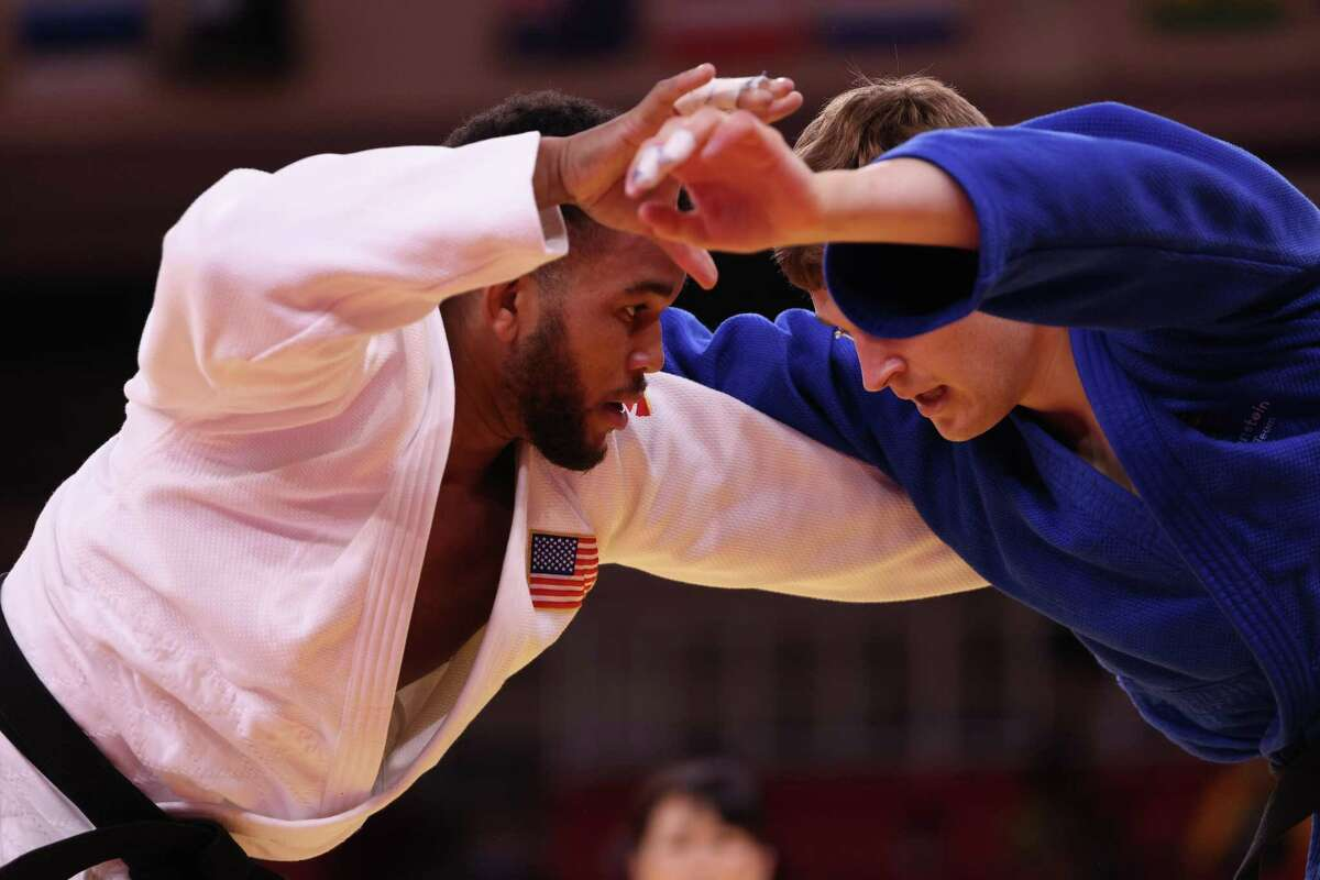 TOKYO, JAPAN - JULY 28: Colton Brown of Team USA and Raphael Schwendinger of Liechtenstein compete during the Men's Judo 90kg Elimination Round of 32 on day five of the Tokyo 2020 Olympic Games at Nippon Budokan on July 28, 2021 in Tokyo, Japan. (Photo by Harry How/Getty Images)