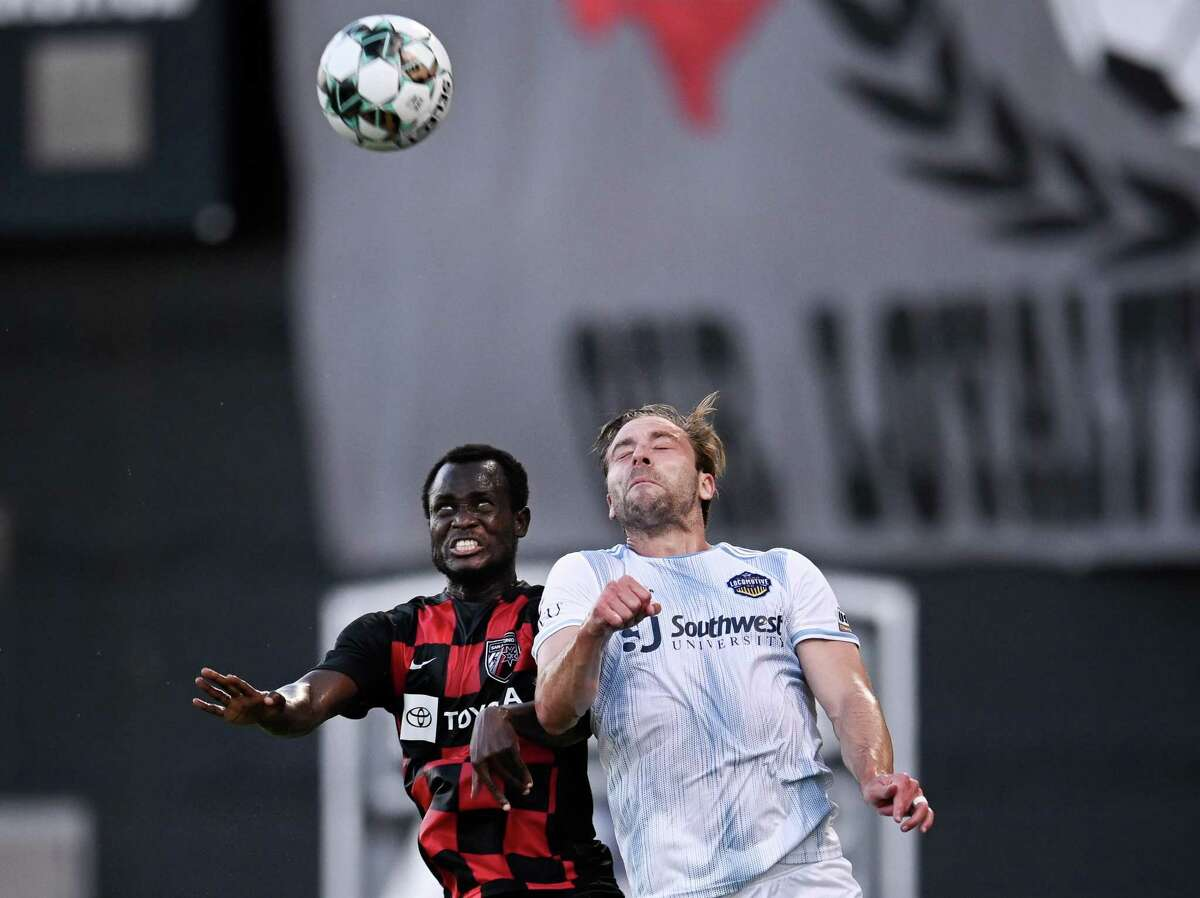 San Antonio FC's Mohammed Abu competes with an El Paso Locomotive FC player for a header during a USL Championship soccer match on Wednesday, July 28, 2021, at Toyota Field in San Antonio. (Darren Abate/USL Championship)