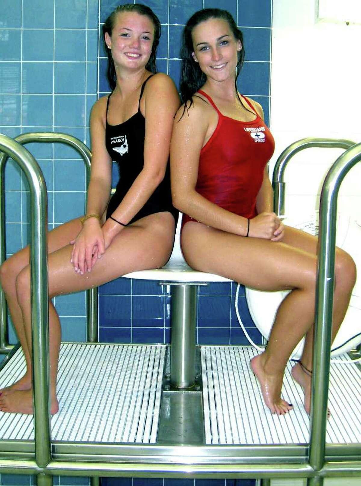 SPECTRUM/New Milford High School girls' swimming captains Danielle Cambareri and Jessica Cochrane, Sept. 2, 2010.
