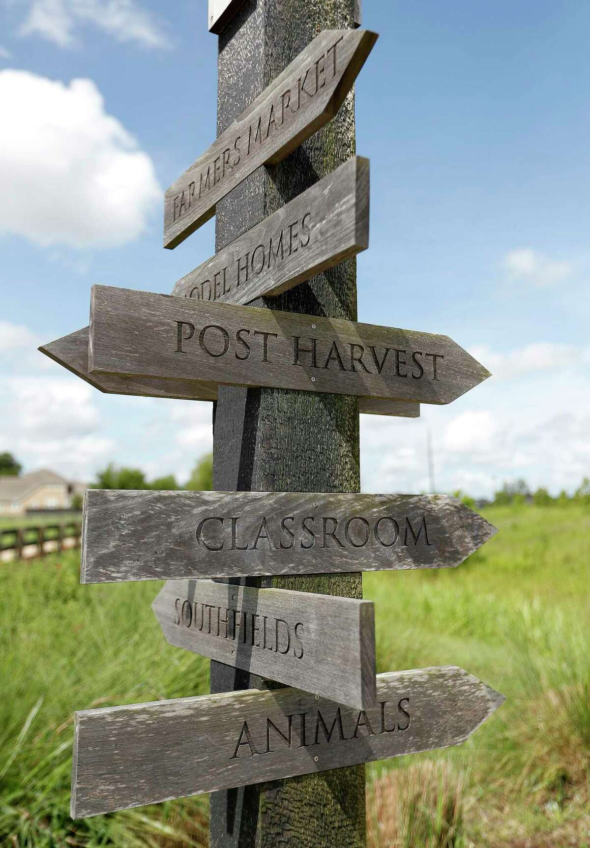 A sign post points the way to various paths inside of Harvest Green, the farm-focused community along the Grand Parkway at West Airport Boulevard in Richmond, which is growing, Friday, July 2, 2021, in Richmond.