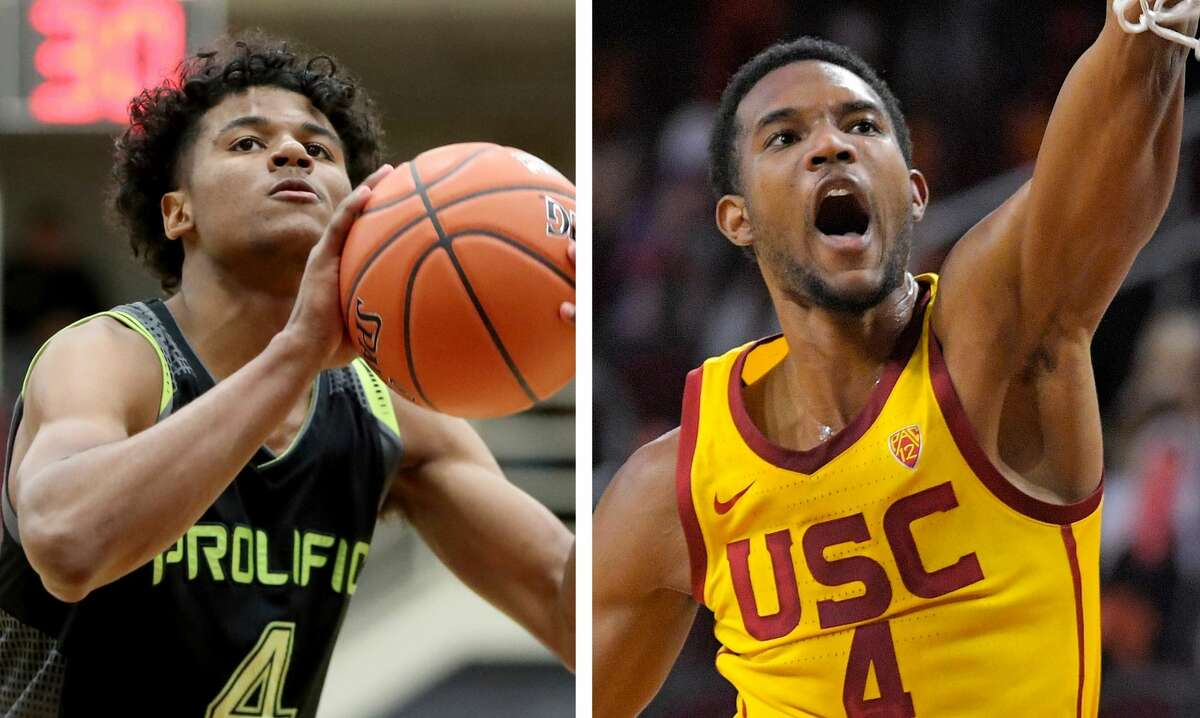 Assuming the Pistons take Cade Cunningham at No. 1, the Rockets will be choosing between Jalen Green (left) and Evan Mobley (right) with the No. 2 pick in Thursday night's NBA Draft.