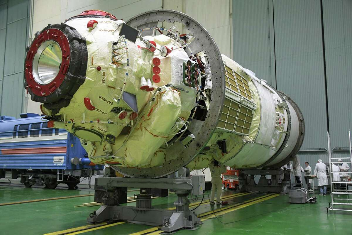 The Nauka Multipurpose Laboratory Module undergoes final processing at the Baikonur Cosmodrome in Kazakhstan in preparation for its launch to the International Space Station.