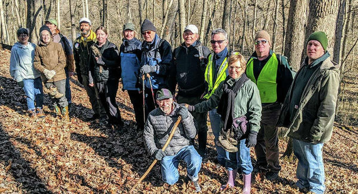Sierra Club members on a New Year's Day 2020 hike on Rocky Fork Trail in Godfrey.
