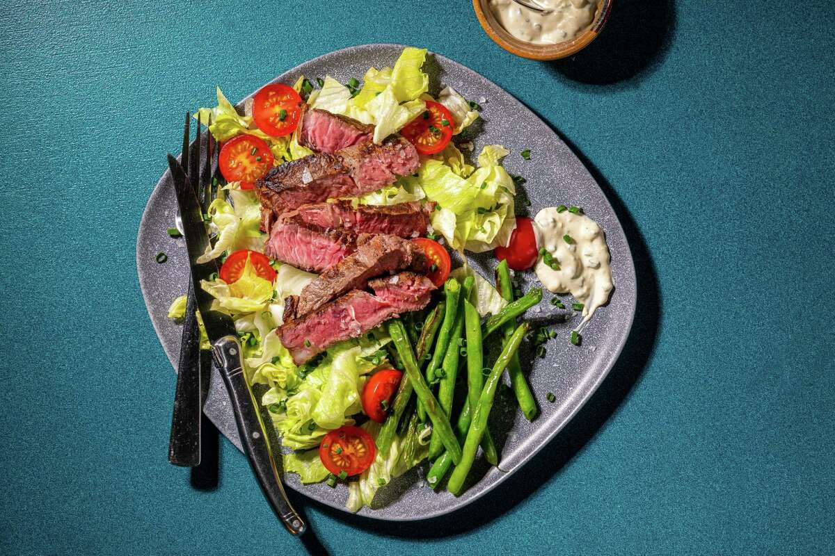 Steak Salad With Blue Cheese Dressing.