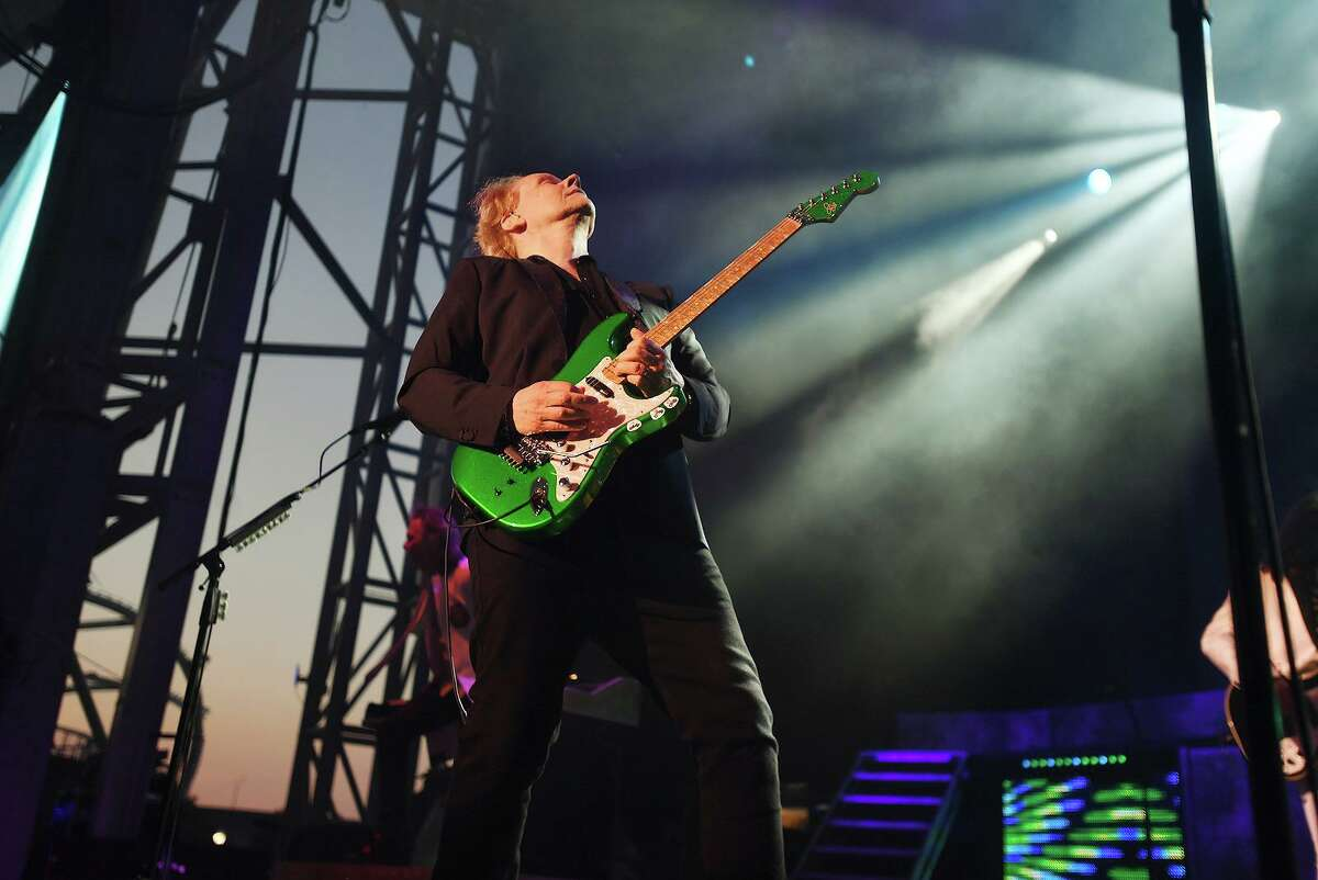"""James """"J.Y."""" Young and the band Styx perform on the opening night of the new Hartford Healthcare Amphitheater, a conversion of the former Harbor Yard Ballpark, in Bridgeport, Conn. on Wednesday, July 28, 2021."""