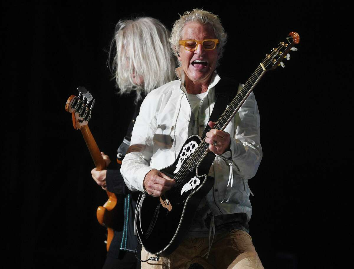 Kevin Cronin, right, and Bruce Hall perform with REO Speedwagon on the opening night of the new Hartford Healthcare Amphitheater, a conversion of the former Harbor Yard Ballpark, in Bridgeport, Conn. on Wednesday, July 28, 2021.
