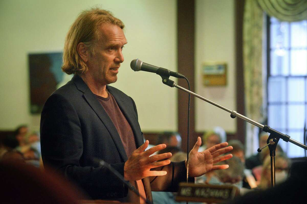 Little Pub owner Douglas Grabe speaks in front of member of the Town of Stratford's Zoning Commission, in Stratford, Conn. July 28, 2021. Grabe is hoping to open an outdoor dining and entertainment park across the street from Little Pub's location in the Lordship neighborhood.